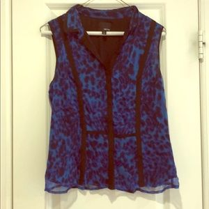 Blue and black sleeveless blouse- small